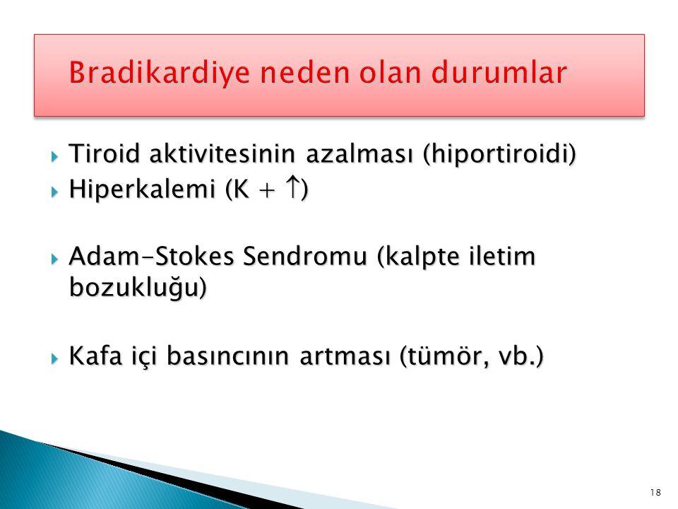  Tiroid aktivitesinin azalması (hiportiroidi)  Hiperkalemi (K +  )  Adam-Stokes Sendromu (kalpte iletim bozukluğu)  Kafa içi basıncının artması (