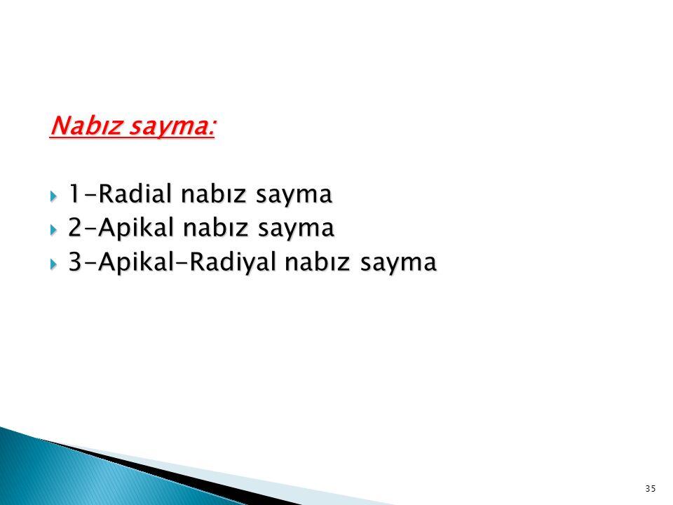 Nabız sayma:  1-Radial nabız sayma  2-Apikal nabız sayma  3-Apikal-Radiyal nabız sayma 35