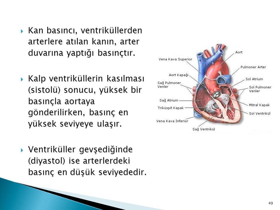  Kan basıncı, ventriküllerden arterlere atılan kanın, arter duvarına yaptığı basınçtır.  Kalp ventriküllerin kasılması (sistolü) sonucu, yüksek bir