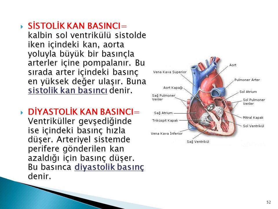 SİSTOLİK KAN BASINCI= kalbin sol ventrikülü sistolde iken içindeki kan, aorta yoluyla büyük bir basınçla arterler içine pompalanır. Bu sırada arter