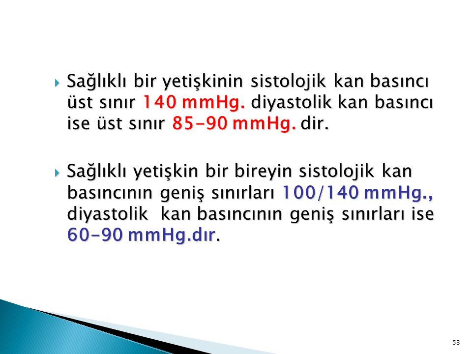  Sağlıklı bir yetişkinin sistolojik kan basıncı üst sınır 140 mmHg. diyastolik kan basıncı ise üst sınır 85-90 mmHg. dir.  Sağlıklı yetişkin bir bir
