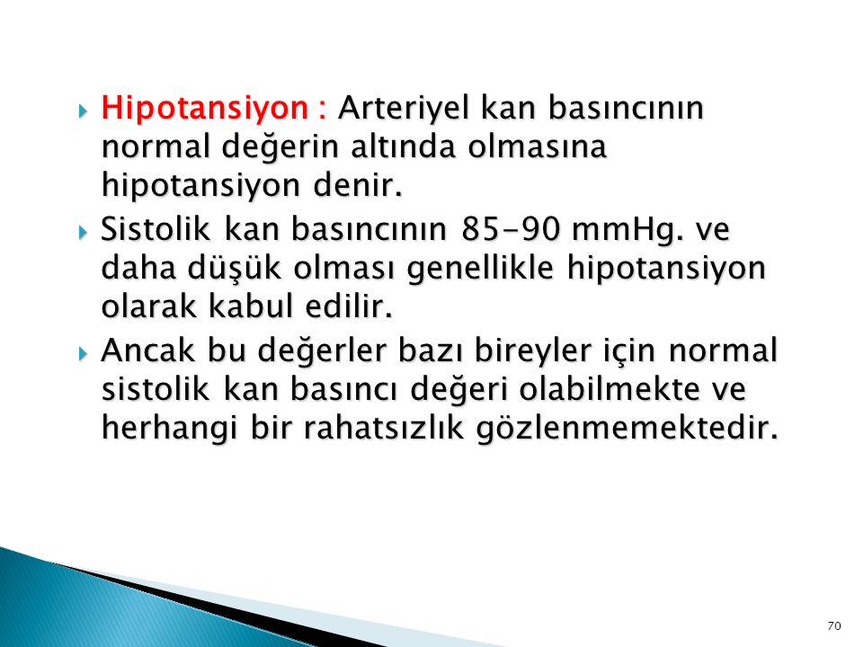  Hipotansiyon : Arteriyel kan basıncının normal değerin altında olmasına hipotansiyon denir.  Sistolik kan basıncının 85-90 mmHg. ve daha düşük olma