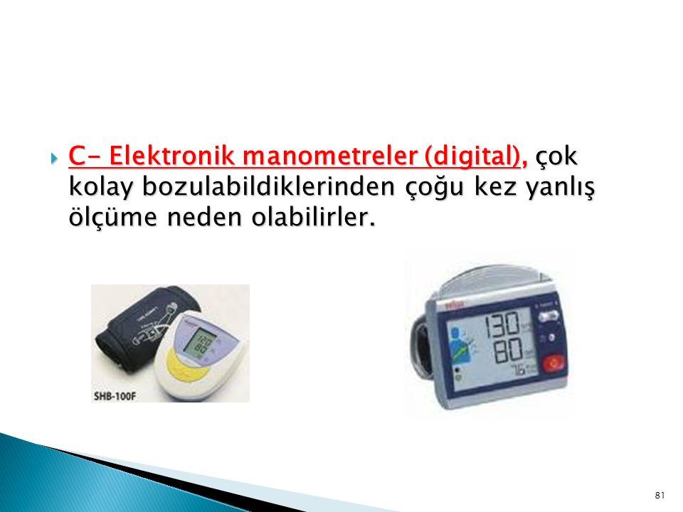  C- Elektronik manometreler (digital), çok kolay bozulabildiklerinden çoğu kez yanlış ölçüme neden olabilirler. 81