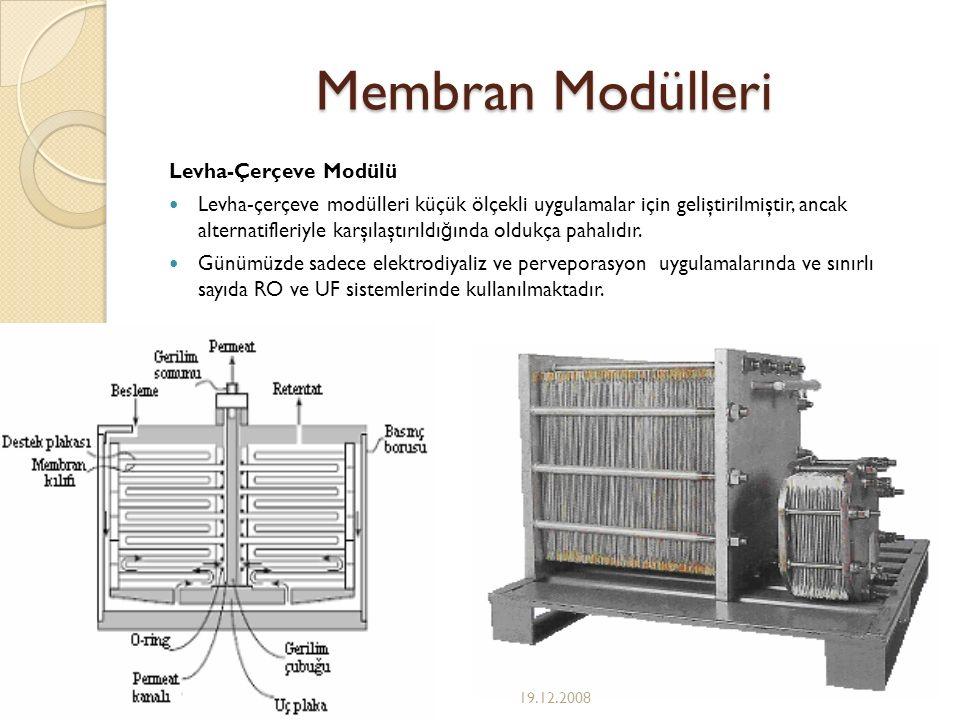 Membran Modülleri Levha-Çerçeve Modülü Levha-çerçeve modülleri küçük ölçekli uygulamalar için geliştirilmiştir, ancak alternatifleriyle karşılaştırıld
