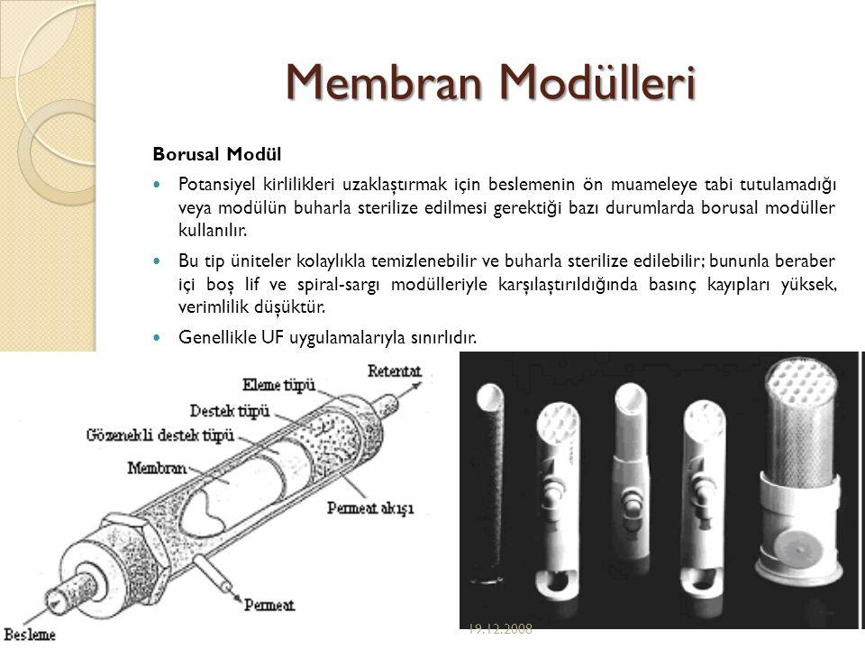 Membran Modülleri Borusal Modül Potansiyel kirlilikleri uzaklaştırmak için beslemenin ön muameleye tabi tutulamadı ğ ı veya modülün buharla sterilize