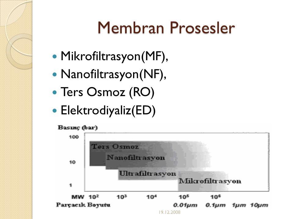 Membran Prosesler Mikrofiltrasyon(MF), Nanofiltrasyon(NF), Ters Osmoz (RO) Elektrodiyaliz(ED) 19.12.2008