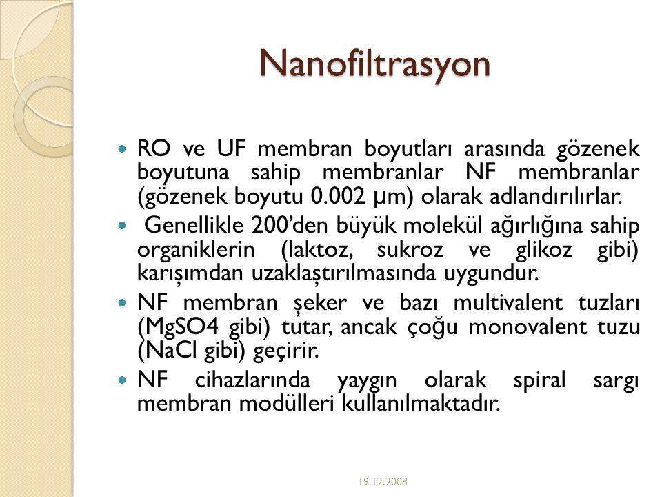 Nanofiltrasyon RO ve UF membran boyutları arasında gözenek boyutuna sahip membranlar NF membranlar (gözenek boyutu 0.002 μ m) olarak adlandırılırlar.