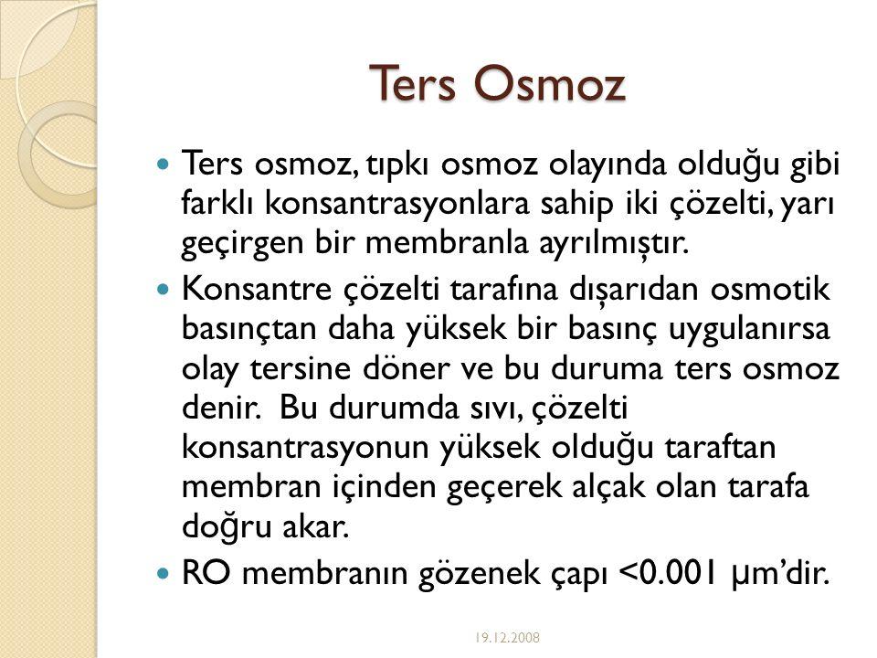 Ters Osmoz Ters osmoz, tıpkı osmoz olayında oldu ğ u gibi farklı konsantrasyonlara sahip iki çözelti, yarı geçirgen bir membranla ayrılmıştır. Konsant