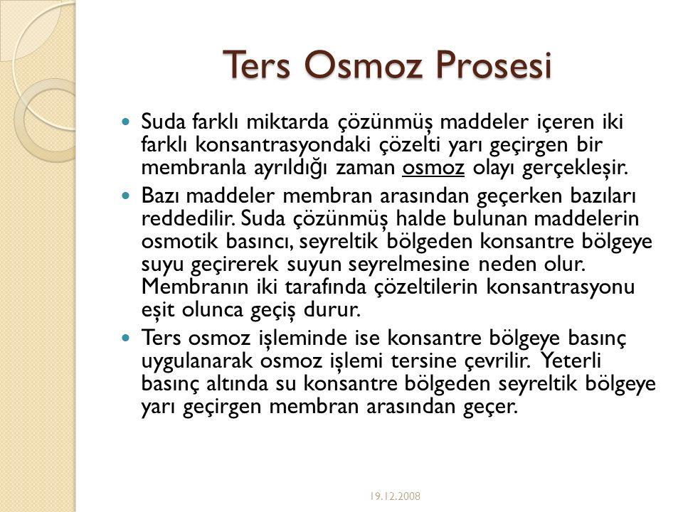 Ters Osmoz Prosesi Suda farklı miktarda çözünmüş maddeler içeren iki farklı konsantrasyondaki çözelti yarı geçirgen bir membranla ayrıldı ğ ı zaman os