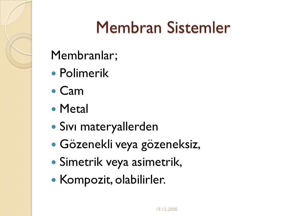 Membran Sistemler Membranlar; Polimerik Cam Metal Sıvı materyallerden Gözenekli veya gözeneksiz, Simetrik veya asimetrik, Kompozit, olabilirler. 19.12