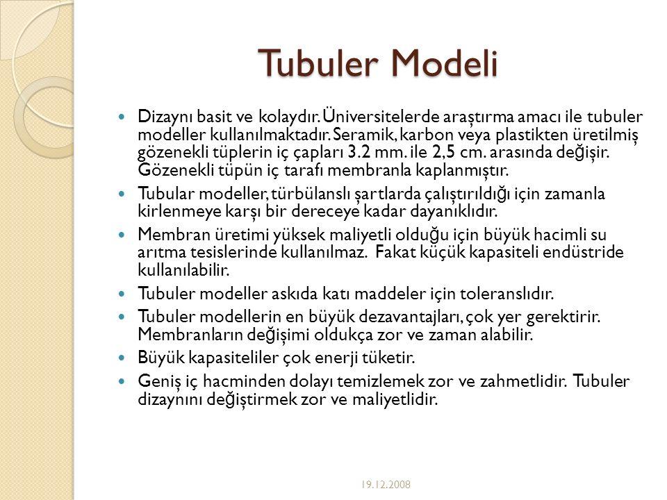 Tubuler Modeli Dizaynı basit ve kolaydır. Üniversitelerde araştırma amacı ile tubuler modeller kullanılmaktadır. Seramik, karbon veya plastikten üreti
