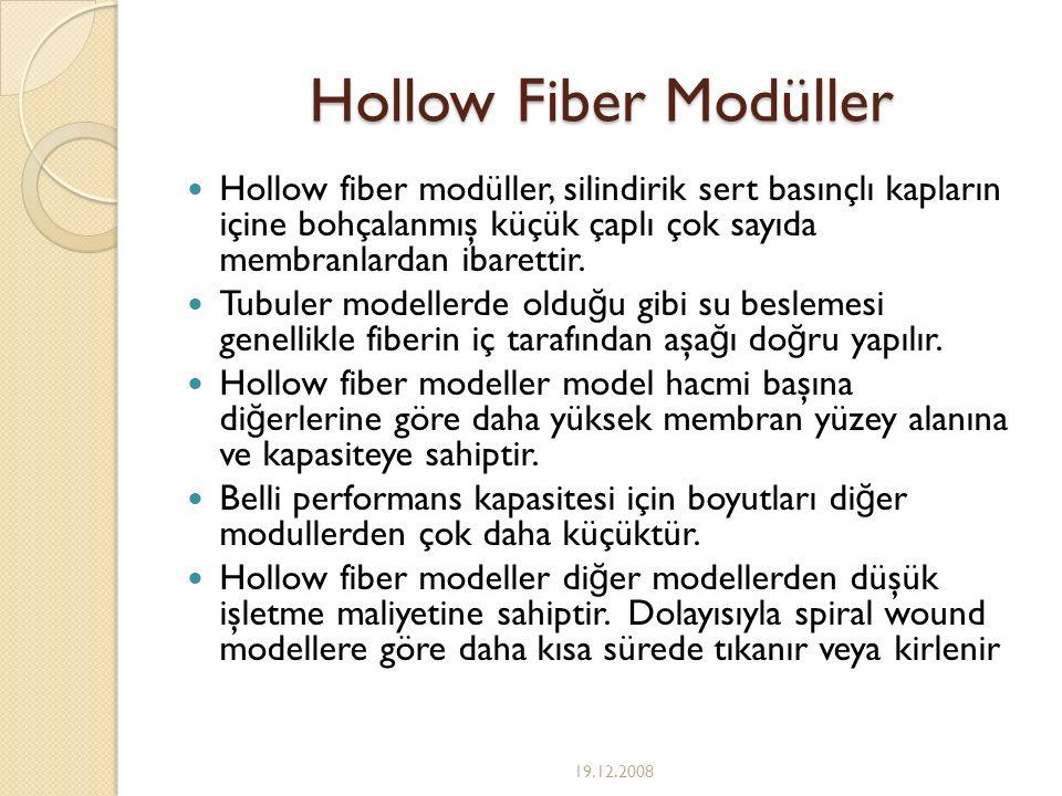 Hollow Fiber Modüller Hollow fiber modüller, silindirik sert basınçlı kapların içine bohçalanmış küçük çaplı çok sayıda membranlardan ibarettir. Tubul