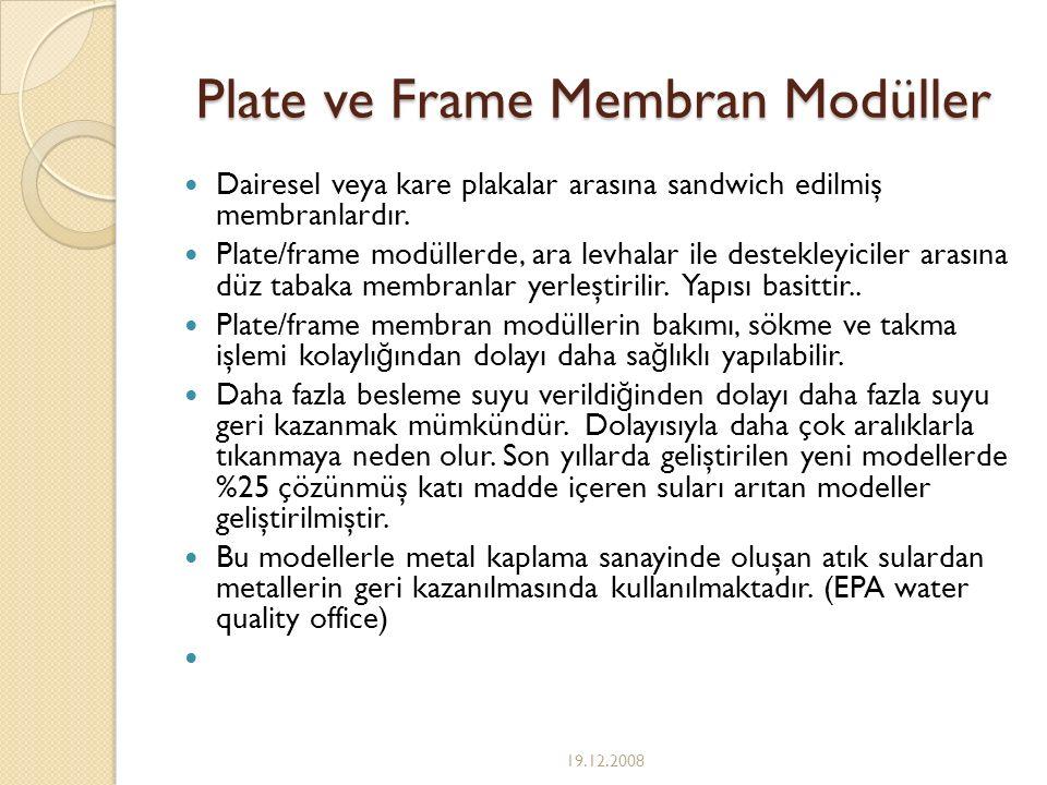 Plate ve Frame Membran Modüller Dairesel veya kare plakalar arasına sandwich edilmiş membranlardır. Plate/frame modüllerde, ara levhalar ile destekley
