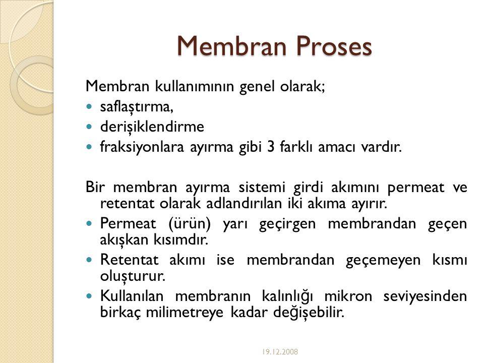 Membran Proses Membran kullanımının genel olarak; saflaştırma, derişiklendirme fraksiyonlara ayırma gibi 3 farklı amacı vardır. Bir membran ayırma sis