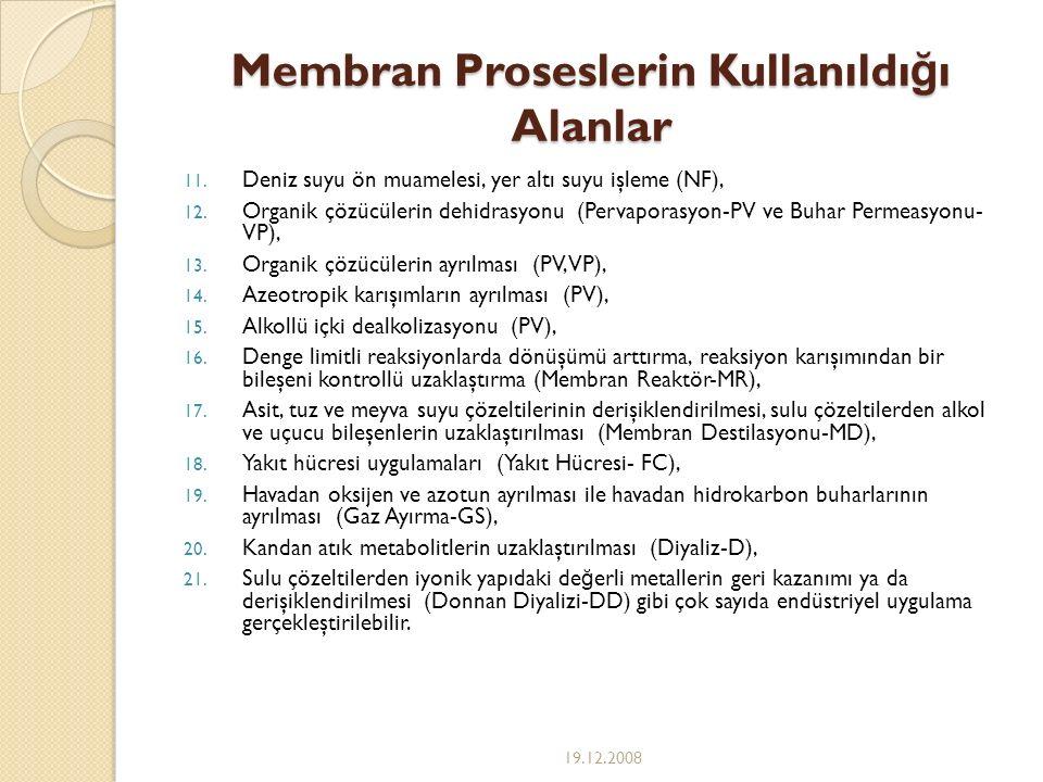 Membran Proseslerin Kullanıldı ğ ı Alanlar 11. Deniz suyu ön muamelesi, yer altı suyu işleme (NF), 12. Organik çözücülerin dehidrasyonu (Pervaporasyon