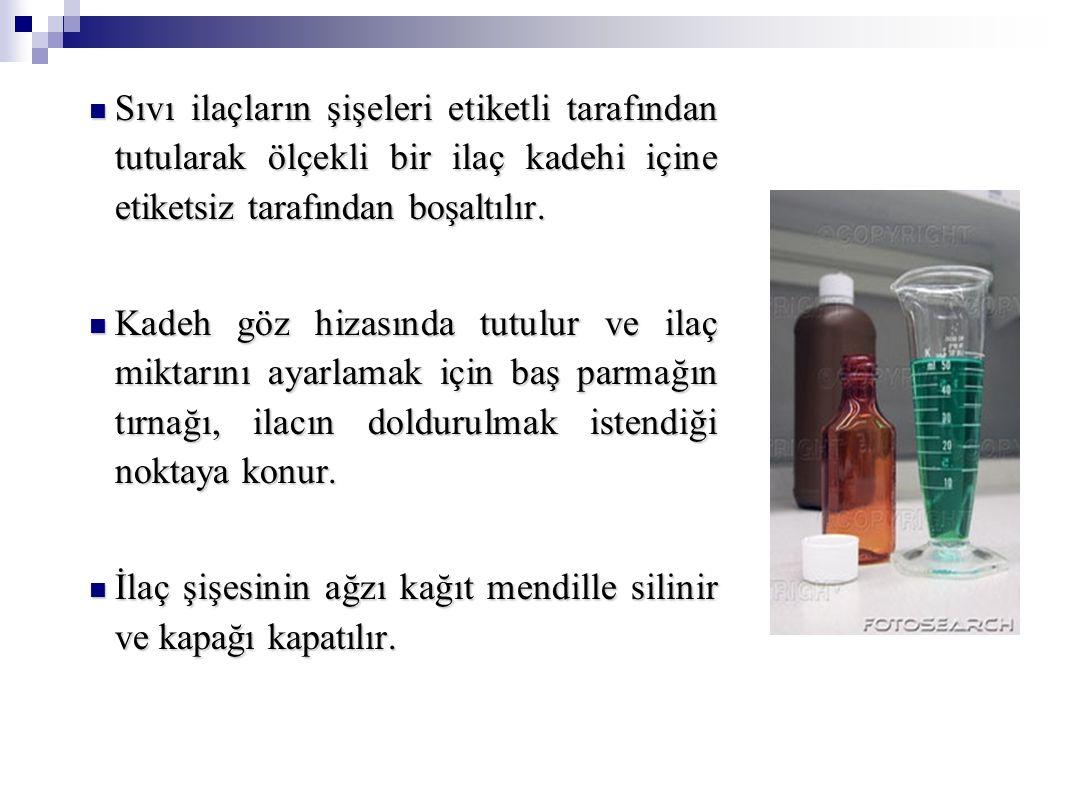 Sıvı ilaçların şişeleri etiketli tarafından tutularak ölçekli bir ilaç kadehi içine etiketsiz tarafından boşaltılır. Sıvı ilaçların şişeleri etiketli
