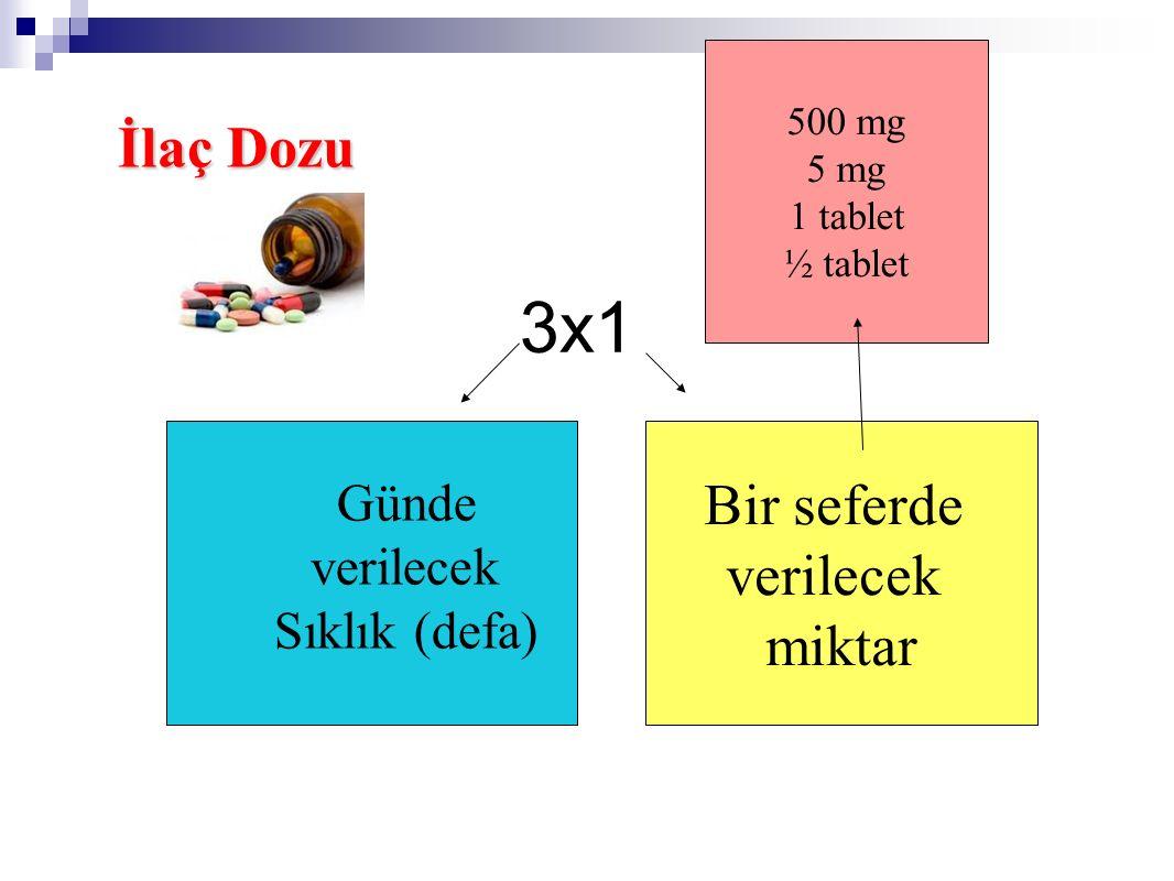 3x1 Günde verilecek Sıklık (defa) Bir seferde verilecek miktar 500 mg 5 mg 1 tablet ½ tablet İlaç Dozu