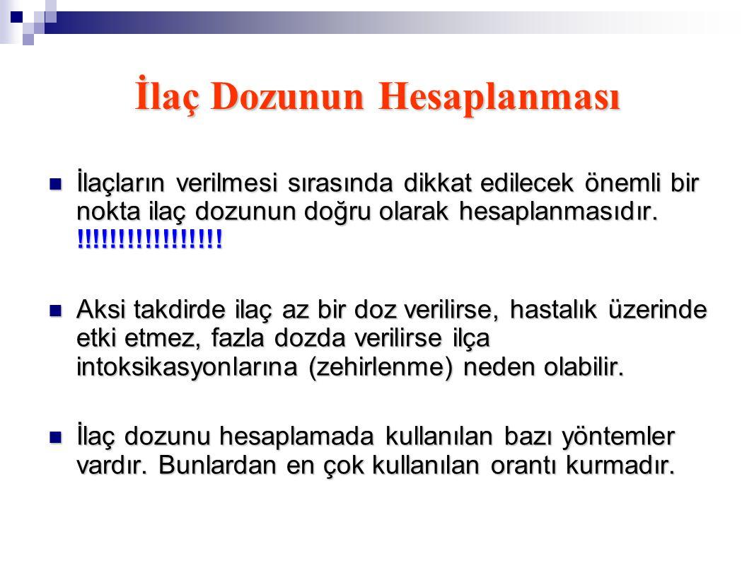 İlaç Dozunun Hesaplanması İlaçların verilmesi sırasında dikkat edilecek önemli bir nokta ilaç dozunun doğru olarak hesaplanmasıdır. !!!!!!!!!!!!!!!!!