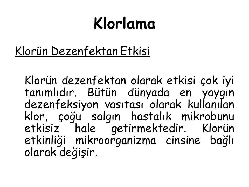 Klorlama Klorün Dezenfektan Etkisi Klorün dezenfektan olarak etkisi çok iyi tanımlıdır. Bütün dünyada en yaygın dezenfeksiyon vasıtası olarak kullanıl