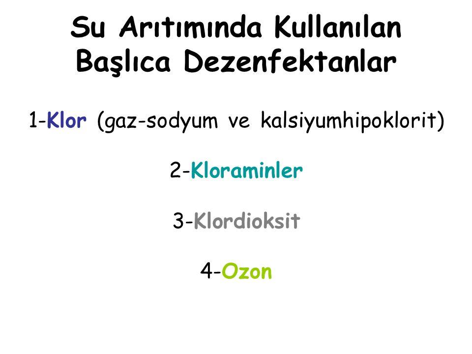 Su Arıtımında Kullanılan Başlıca Dezenfektanlar 1-Klor (gaz-sodyum ve kalsiyumhipoklorit) 2-Kloraminler 3-Klordioksit 4-Ozon