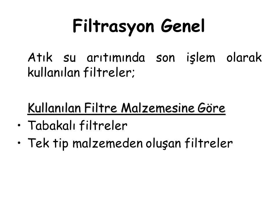 Filtrasyon Genel Atık su arıtımında son işlem olarak kullanılan filtreler; Kullanılan Filtre Malzemesine Göre Tabakalı filtreler Tek tip malzemeden ol