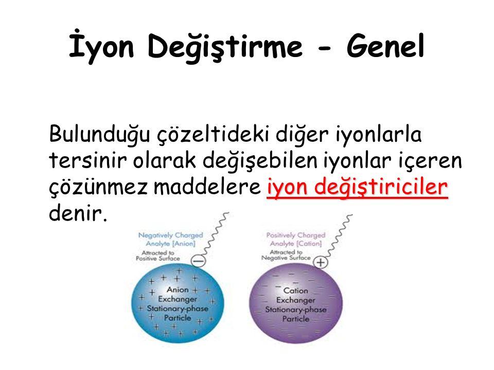 İyon Değiştirme - Genel iyon değiştiriciler Bulunduğu çözeltideki diğer iyonlarla tersinir olarak değişebilen iyonlar içeren çözünmez maddelere iyon değiştiriciler denir.