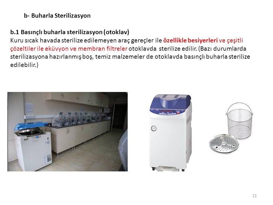 b- Buharla Sterilizasyon b.1 Basınçlı buharla sterilizasyon (otoklav) Kuru sıcak havada sterilize edilemeyen araç gereçler ile özellikle besiyerleri v