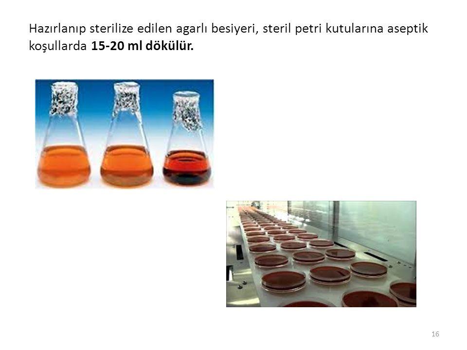Hazırlanıp sterilize edilen agarlı besiyeri, steril petri kutularına aseptik koşullarda 15-20 ml dökülür. 16