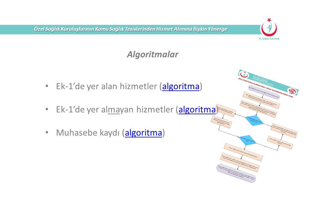 Özel Sağlık Kuruluşlarının Kamu Sağlık Tesislerinden Hizmet Alımına İlişkin Yönerge Algoritmalar Ek-1'de yer alan hizmetler (algoritma)algoritma Ek-1'de yer almayan hizmetler (algoritma)algoritma Muhasebe kaydı (algoritma)algoritma