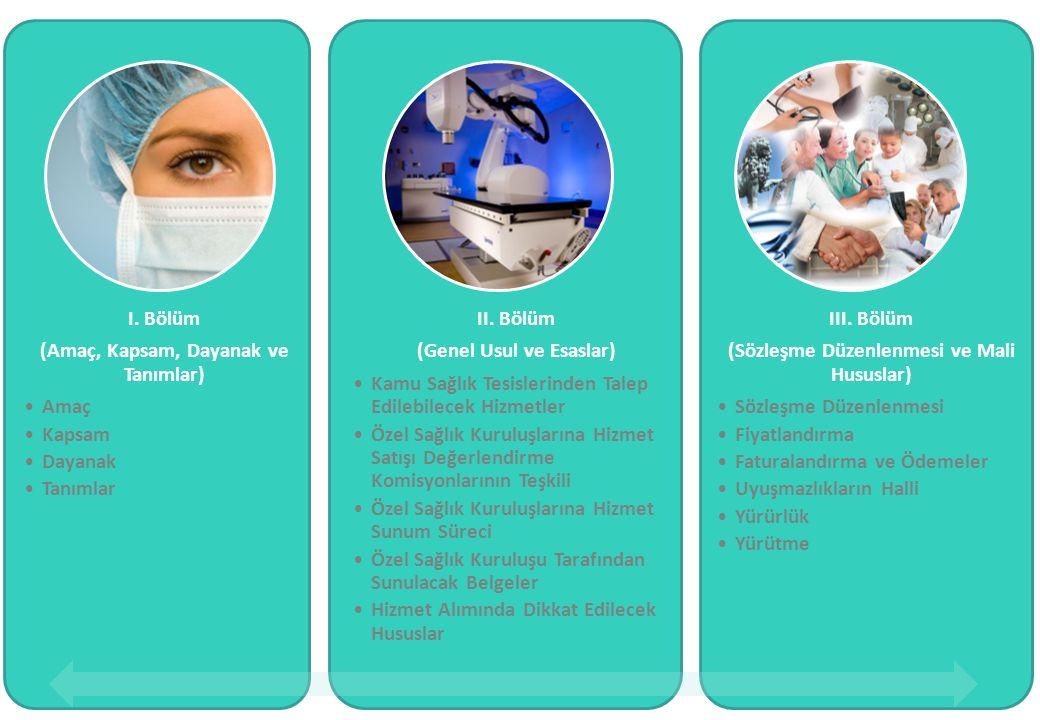 I. Bölüm (Amaç, Kapsam, Dayanak ve Tanımlar) Amaç Kapsam Dayanak Tanımlar II. Bölüm (Genel Usul ve Esaslar) Kamu Sağlık Tesislerinden Talep Edilebilec