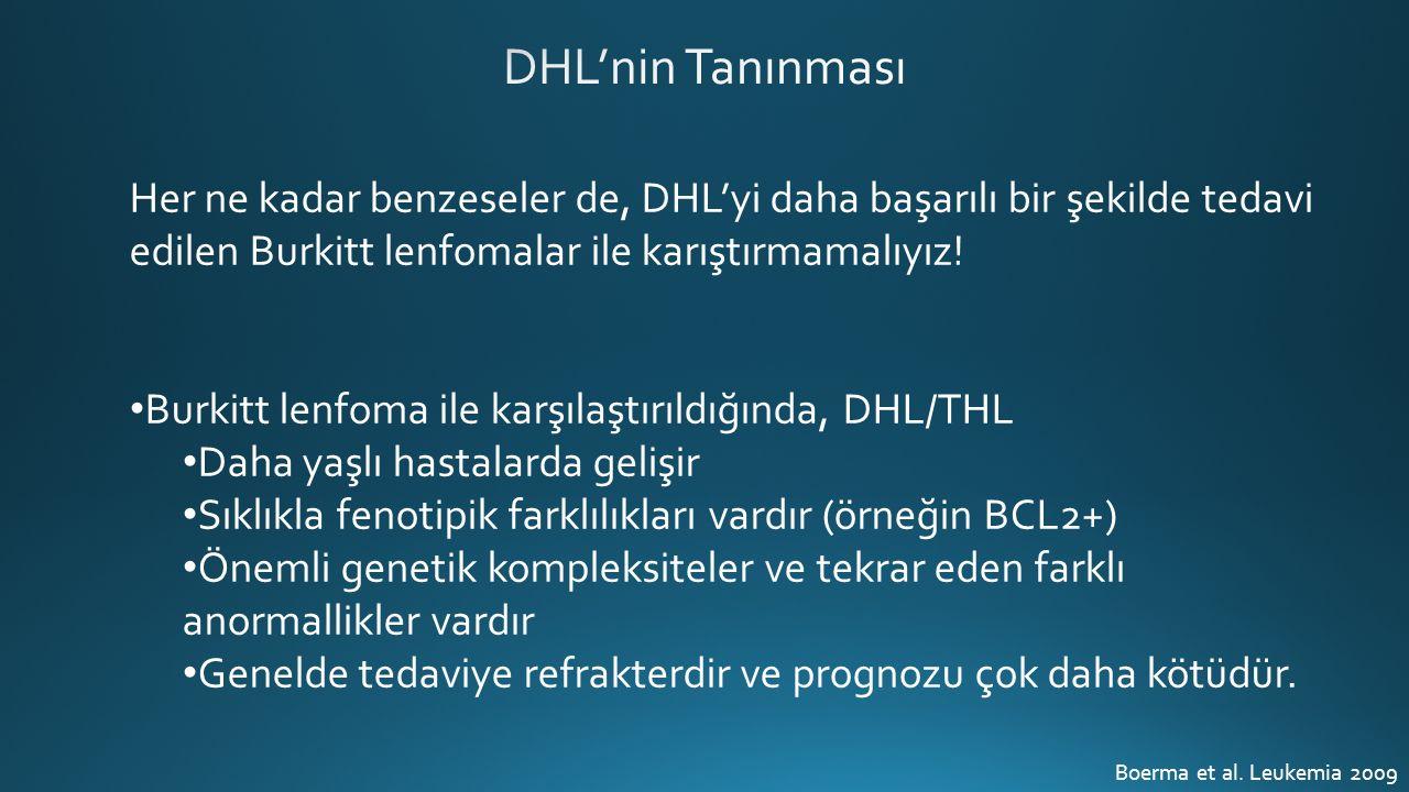 Her ne kadar benzeseler de, DHL'yi daha başarılı bir şekilde tedavi edilen Burkitt lenfomalar ile karıştırmamalıyız.