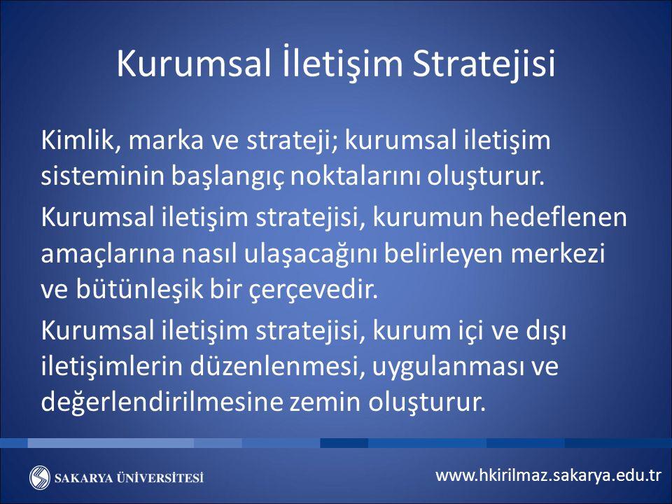 www.hkirilmaz.sakarya.edu.tr Kurumsal İletişim Stratejisi Kimlik, marka ve strateji; kurumsal iletişim sisteminin başlangıç noktalarını oluşturur.