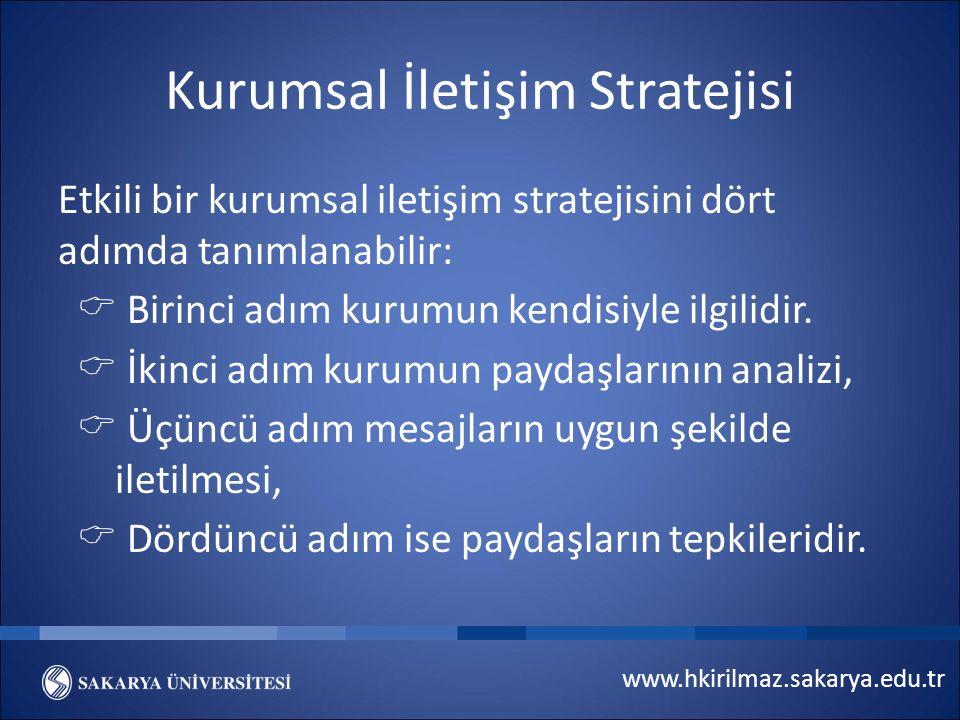 www.hkirilmaz.sakarya.edu.tr Kurumsal İletişim Stratejisi Etkili bir kurumsal iletişim stratejisini dört adımda tanımlanabilir:  Birinci adım kurumun kendisiyle ilgilidir.