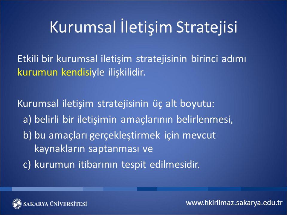 www.hkirilmaz.sakarya.edu.tr Kurumsal İletişim Stratejisi Etkili bir kurumsal iletişim stratejisinin birinci adımı kurumun kendisiyle ilişkilidir.