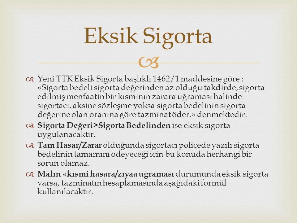   Yeni TTK Eksik Sigorta başlıklı 1462/1 maddesine göre : «Sigorta bedeli sigorta değerinden az olduğu takdirde, sigorta edilmiş menfaatin bir kısmı