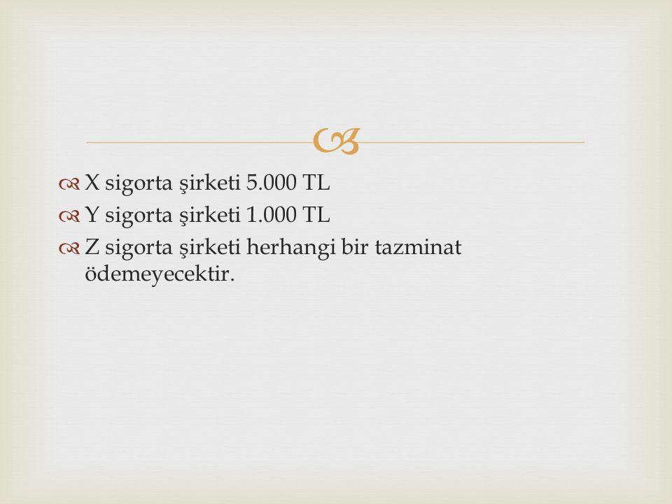   X sigorta şirketi 5.000 TL  Y sigorta şirketi 1.000 TL  Z sigorta şirketi herhangi bir tazminat ödemeyecektir.
