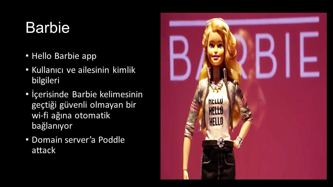 Barbie Hello Barbie app Kullanıcı ve ailesinin kimlik bilgileri İçerisinde Barbie kelimesinin geçtiği güvenli olmayan bir wi-fi ağına otomatik bağlanıyor Domain server'a Poddle attack