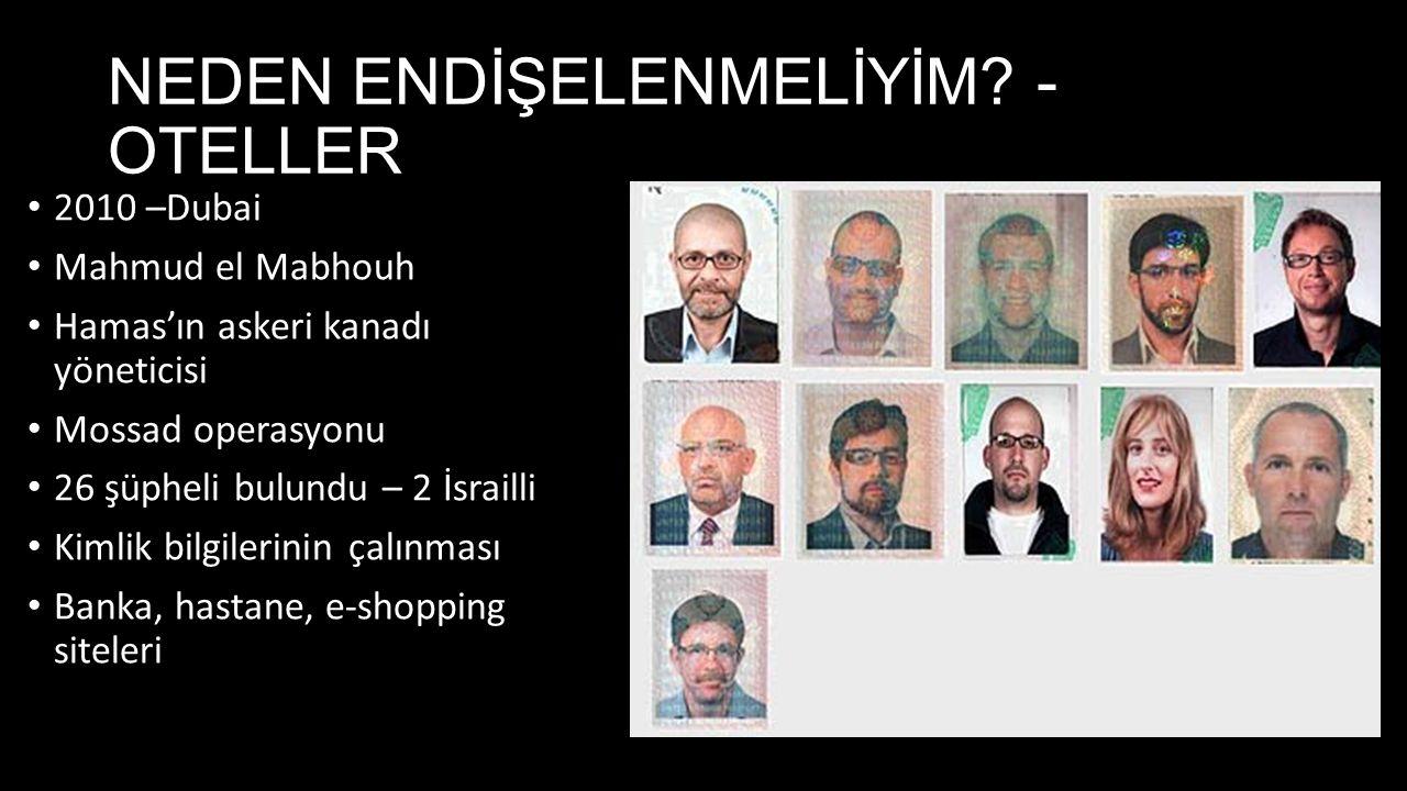 NEDEN ENDİŞELENMELİYİM? - OTELLER 2010 –Dubai Mahmud el Mabhouh Hamas'ın askeri kanadı yöneticisi Mossad operasyonu 26 şüpheli bulundu – 2 İsrailli Ki