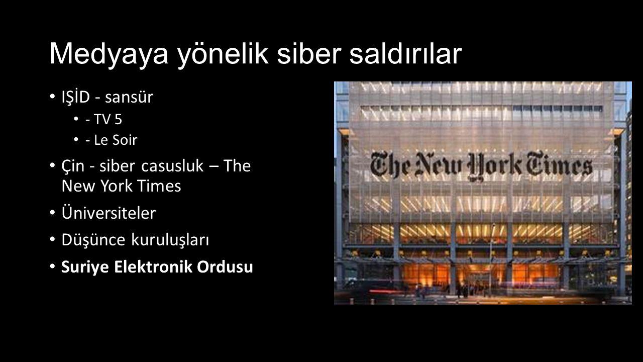 Medyaya yönelik siber saldırılar IŞİD - sansür - TV 5 - Le Soir Çin - siber casusluk – The New York Times Üniversiteler Düşünce kuruluşları Suriye Ele