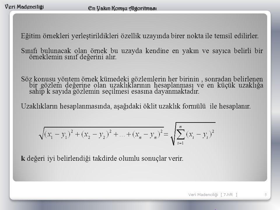 Eğitim örnekleri yerleştirildikleri özellik uzayında birer nokta ile temsil edilirler. Sınıfı bulunacak olan örnek bu uzayda kendine en yakın ve sayıc