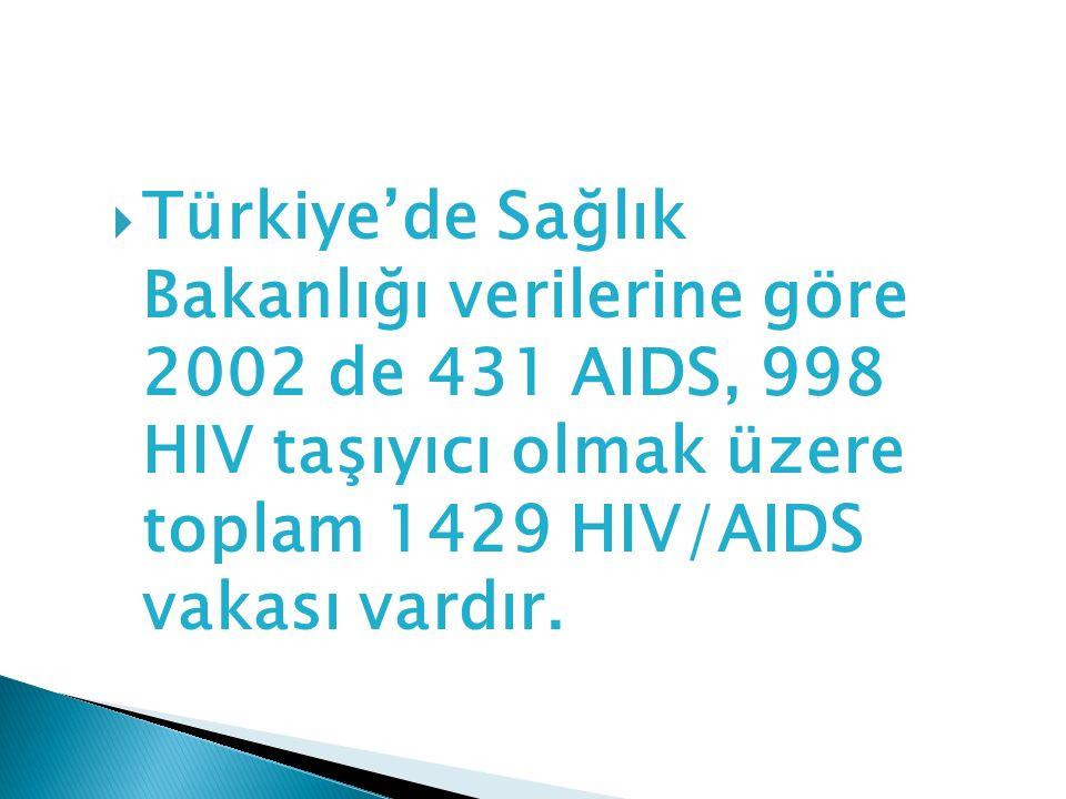  Türkiye'de Sağlık Bakanlığı verilerine göre 2002 de 431 AIDS, 998 HIV taşıyıcı olmak üzere toplam 1429 HIV/AIDS vakası vardır.