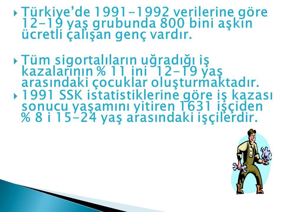  Türkiye'de 1991-1992 verilerine göre 12-19 yaş grubunda 800 bini aşkın ücretli çalışan genç vardır.  Tüm sigortalıların uğradığı iş kazalarının % 1
