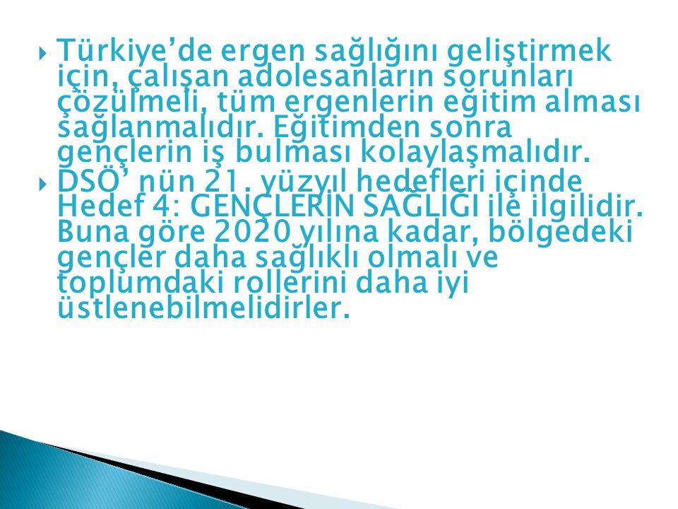  Türkiye'de ergen sağlığını geliştirmek için, çalışan adolesanların sorunları çözülmeli, tüm ergenlerin eğitim alması sağlanmalıdır. Eğitimden sonra
