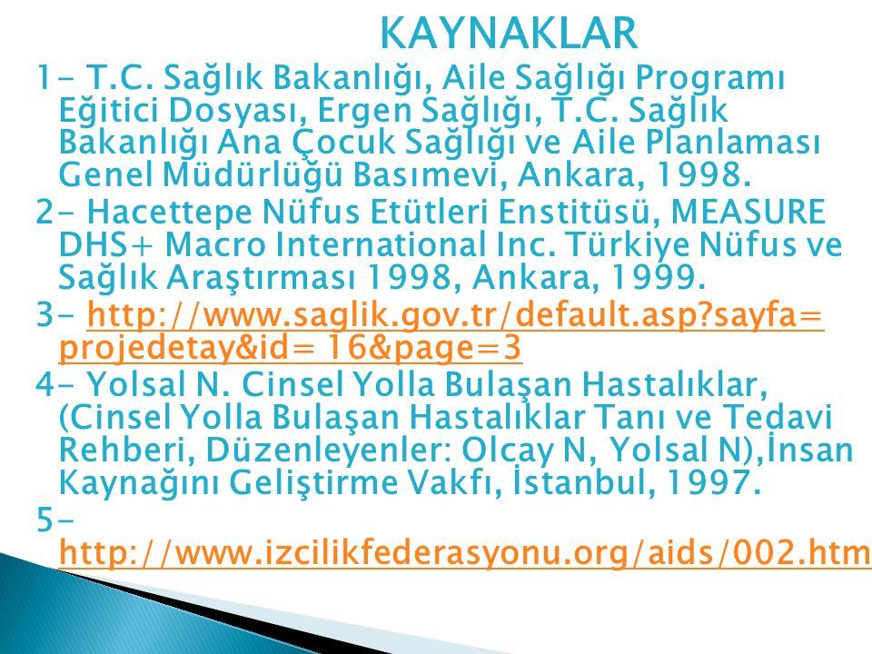 KAYNAKLAR 1- T.C. Sağlık Bakanlığı, Aile Sağlığı Programı Eğitici Dosyası, Ergen Sağlığı, T.C. Sağlık Bakanlığı Ana Çocuk Sağlığı ve Aile Planlaması G