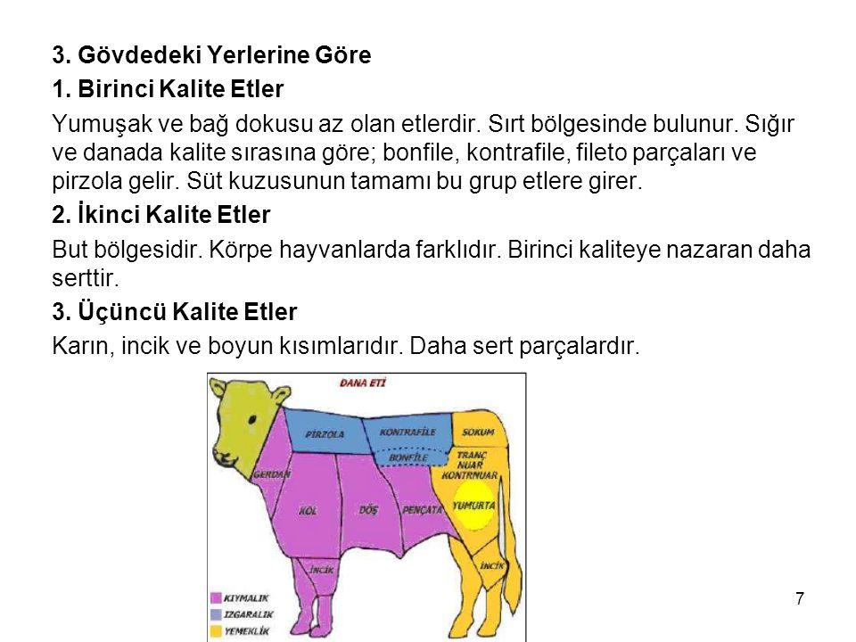3. Gövdedeki Yerlerine Göre 1. Birinci Kalite Etler Yumuşak ve bağ dokusu az olan etlerdir. Sırt bölgesinde bulunur. Sığır ve danada kalite sırasına g