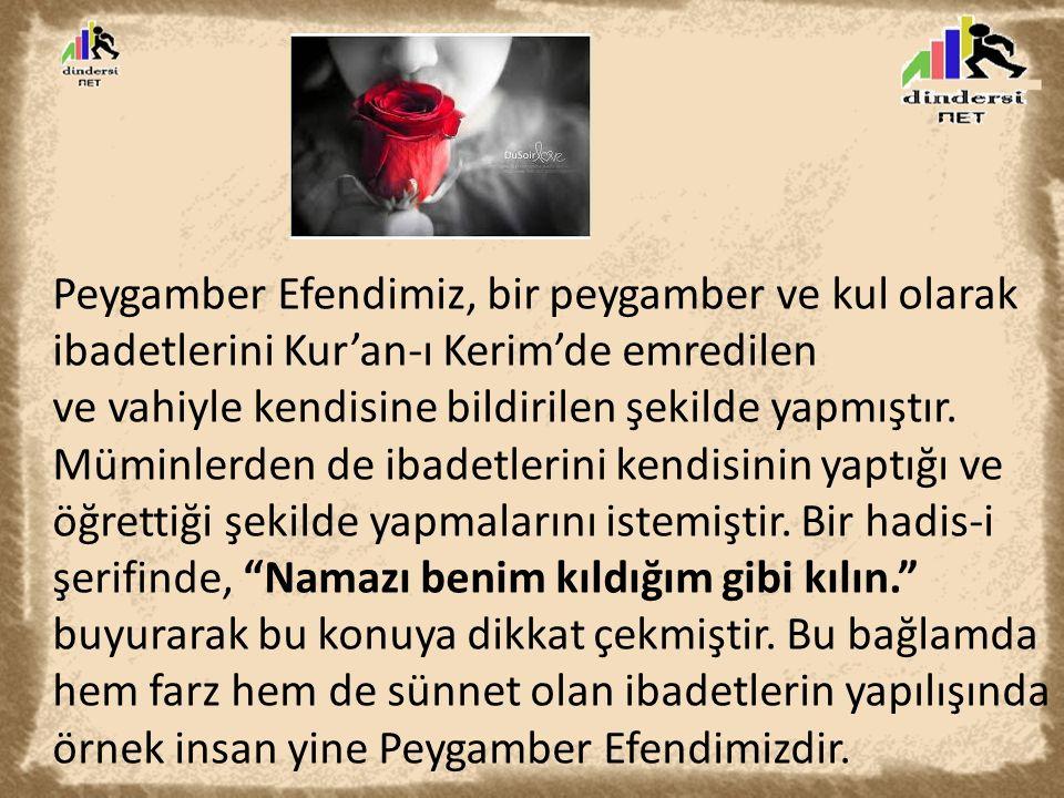 Peygamber Efendimiz, bir peygamber ve kul olarak ibadetlerini Kur'an-ı Kerim'de emredilen ve vahiyle kendisine bildirilen şekilde yapmıştır. Müminlerd