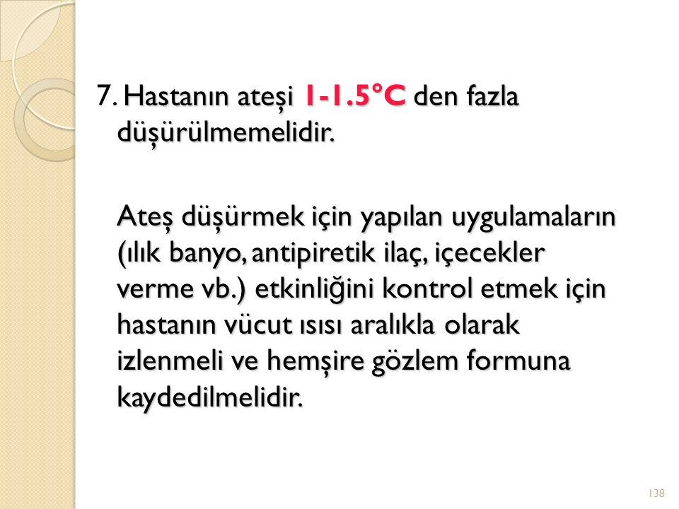Hastanın ateşi 1-1.5°C den fazla düşürülmemelidir.