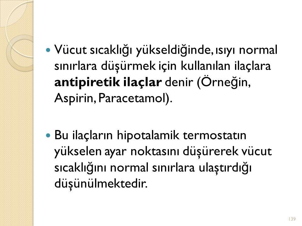 Vücut sıcaklı ğ ı yükseldi ğ inde, ısıyı normal sınırlara düşürmek için kullanılan ilaçlara antipiretik ilaçlar denir (Örne ğ in, Aspirin, Paracetamol).