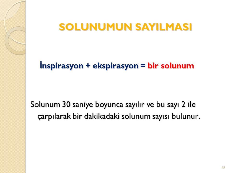 SOLUNUMUN SAYILMASI İ nspirasyon + ekspirasyon = bir solunum İ nspirasyon + ekspirasyon = bir solunum Solunum 30 saniye boyunca sayılır ve bu sayı 2 ile çarpılarak bir dakikadaki solunum sayısı bulunur.