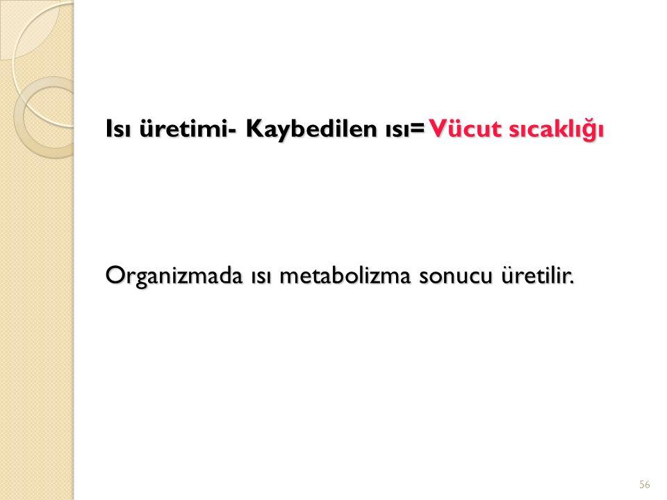 Isı üretimi- Kaybedilen ısı= Vücut sıcaklı ğ ı Organizmada ısı metabolizma sonucu üretilir. 56